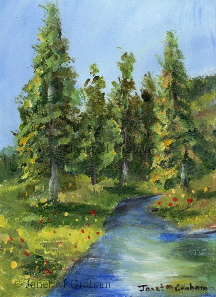 """Spring River ACEO"" original fine art by Janet Graham"