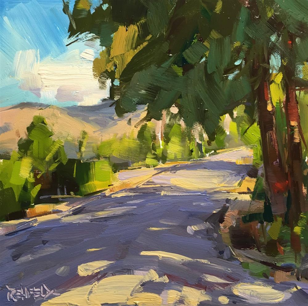 """Sun and Shadows On The Road"" original fine art by Cathleen Rehfeld"