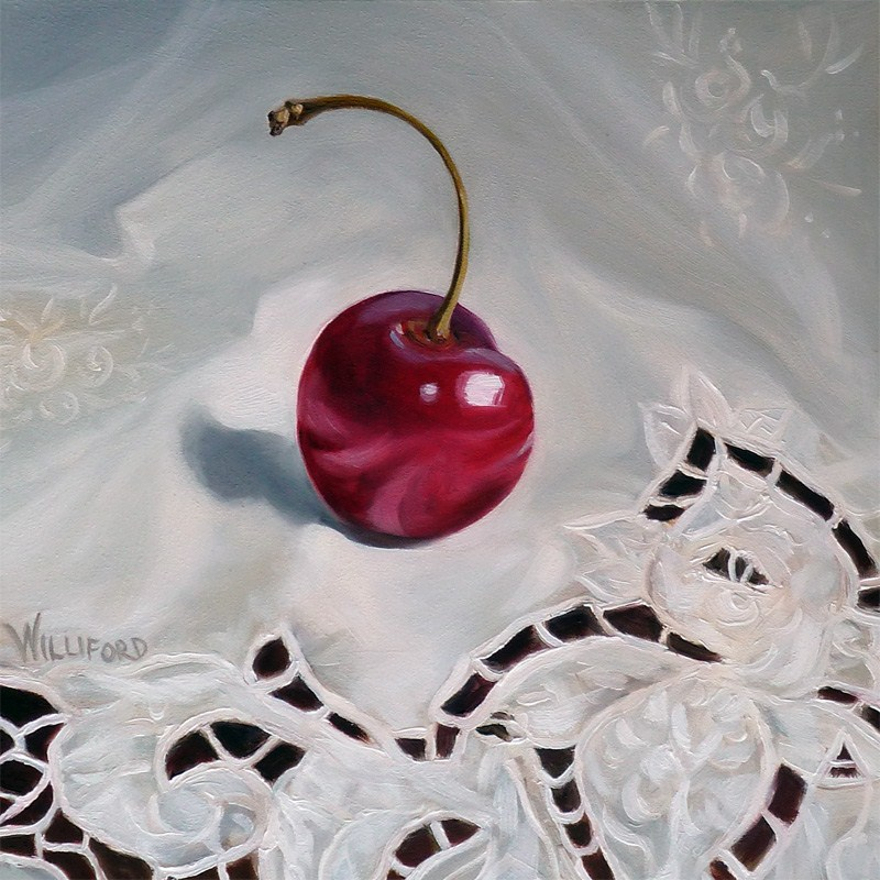 """Cherry on White"" original fine art by Kathleen Williford"