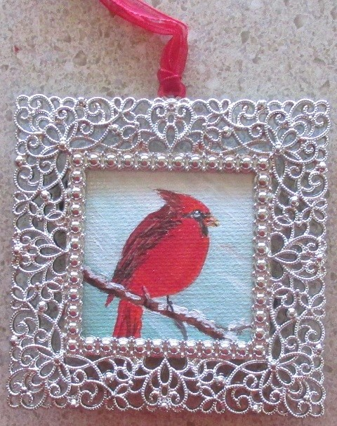"""Angry Bird Ornament"" original fine art by Ruth Stewart"