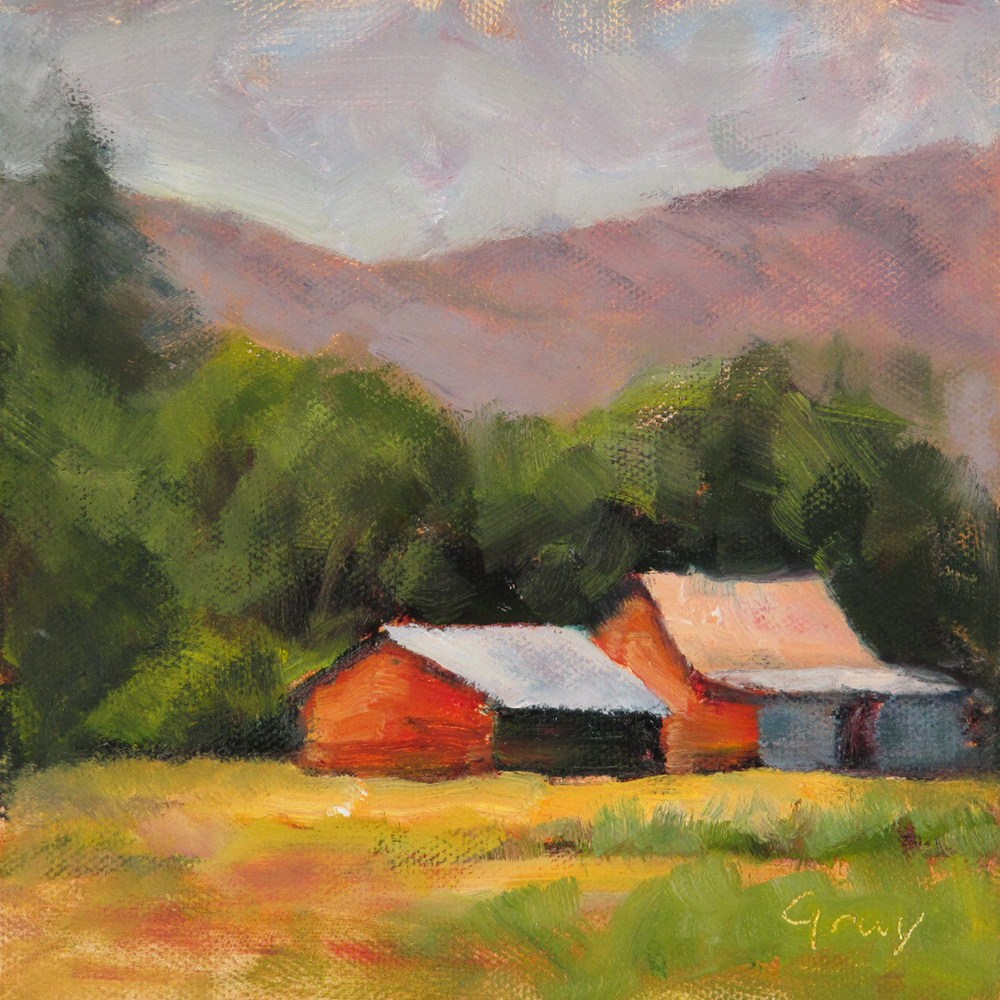 """""""Two Red Barns"""" original fine art by Naomi Gray"""