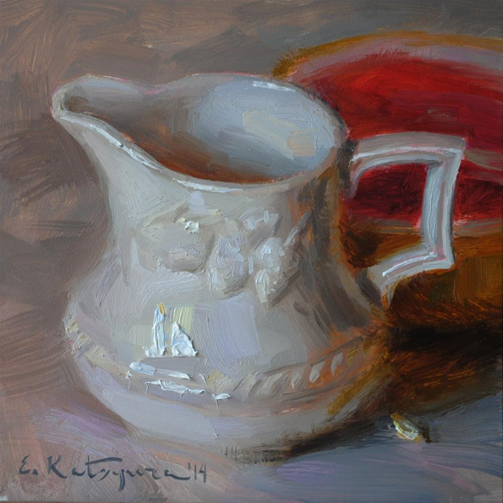 """Creamer and Grapefruit"" original fine art by Elena Katsyura"