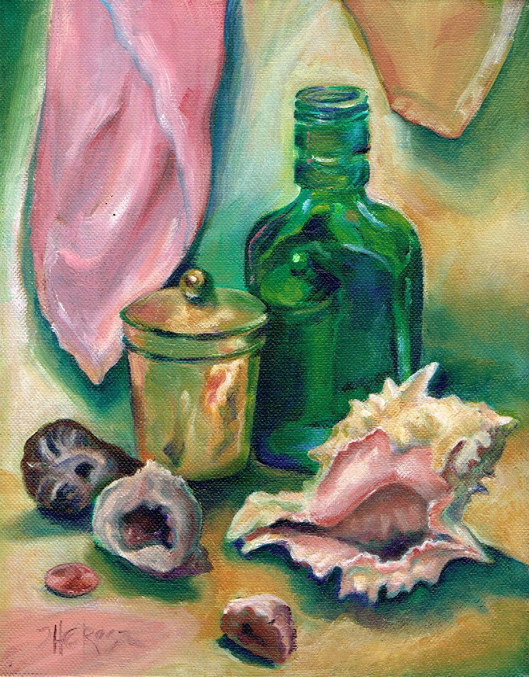 """Shell, Bottle, and Geodes"" original fine art by Theresa Taylor Bayer"