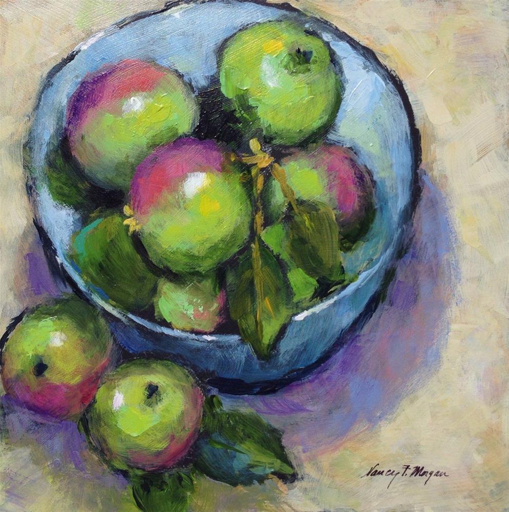 """Little Green Apples"" original fine art by Nancy F. Morgan"