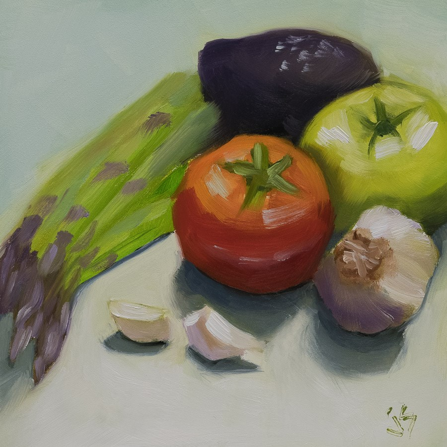 """What's for Dinner"" original fine art by Johnna Schelling"