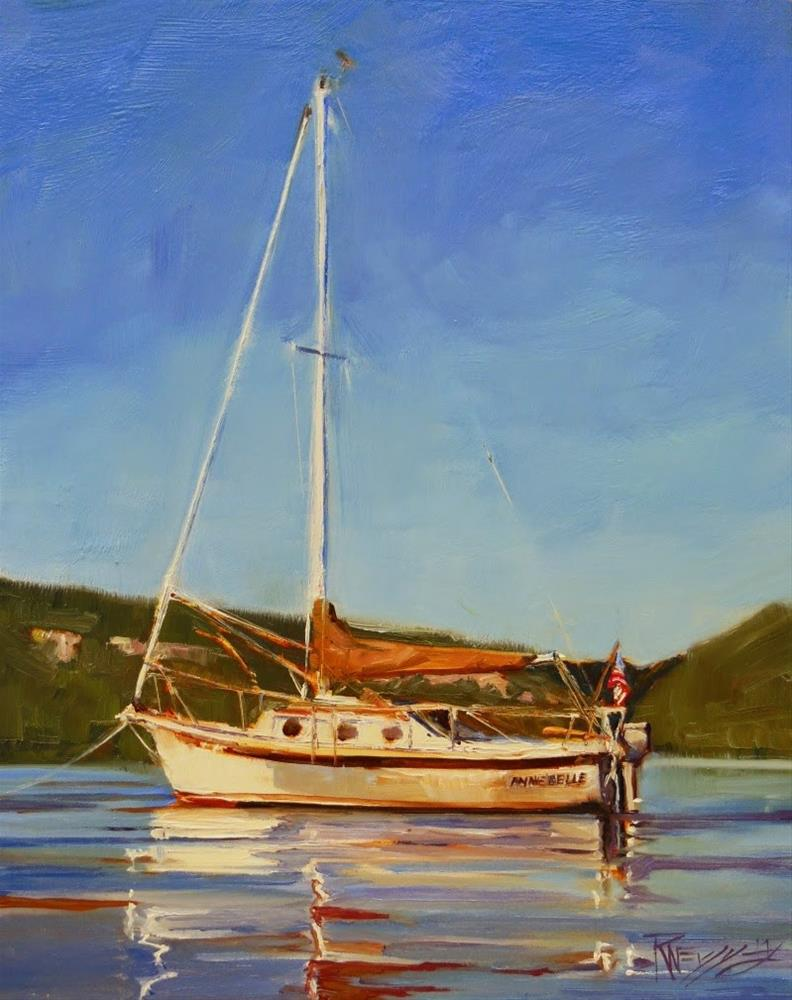 """The Annie Belle  commission, marine oil painting by Robin Weiss"" original fine art by Robin Weiss"