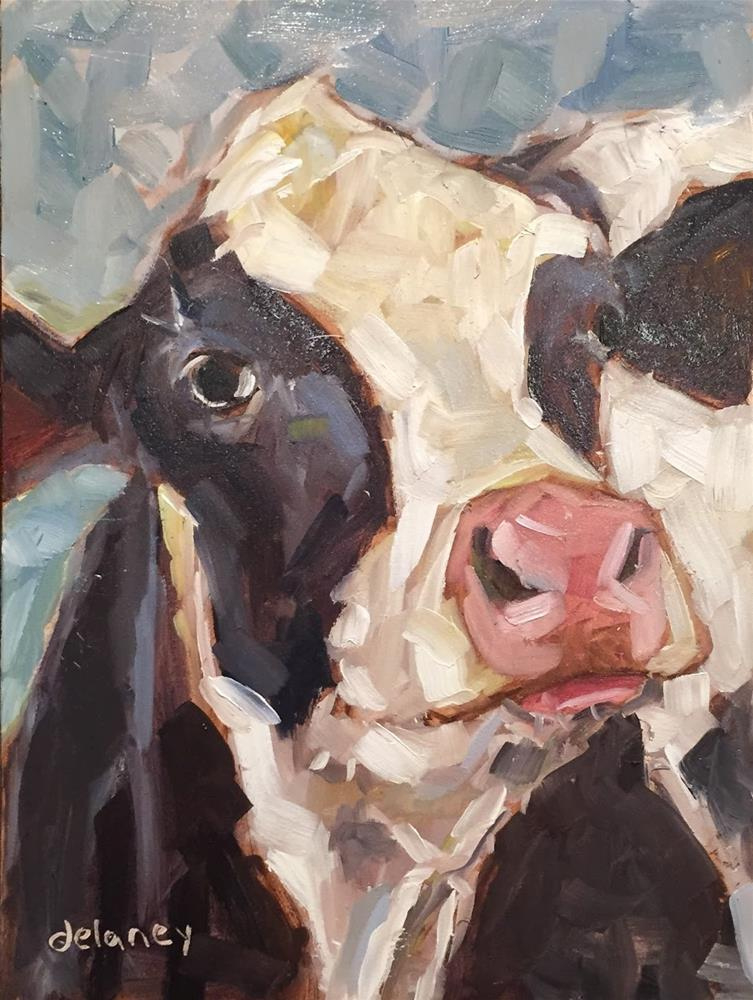 """""""Cow 87 I SEE YOU"""" original fine art by Jean Delaney"""