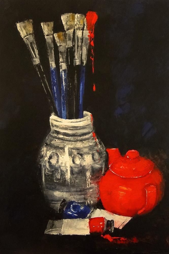 """Still life with red"" original fine art by Karen Robinson"