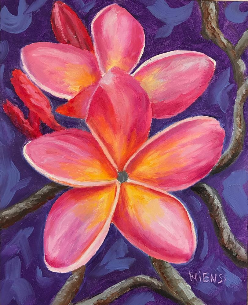 """""""Pink Plumeria"""" original fine art by Laura Wiens"""