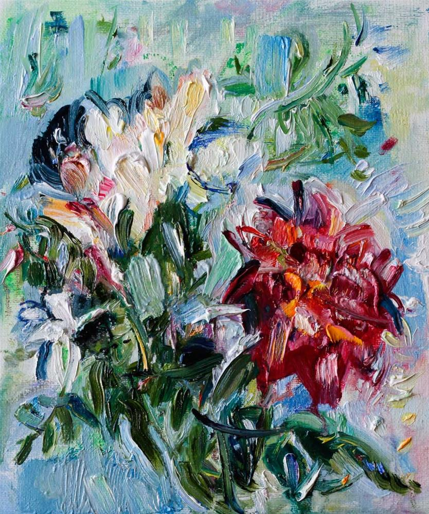 """Two Garden Roses and Jasmine"" original fine art by Anna Fine Art"
