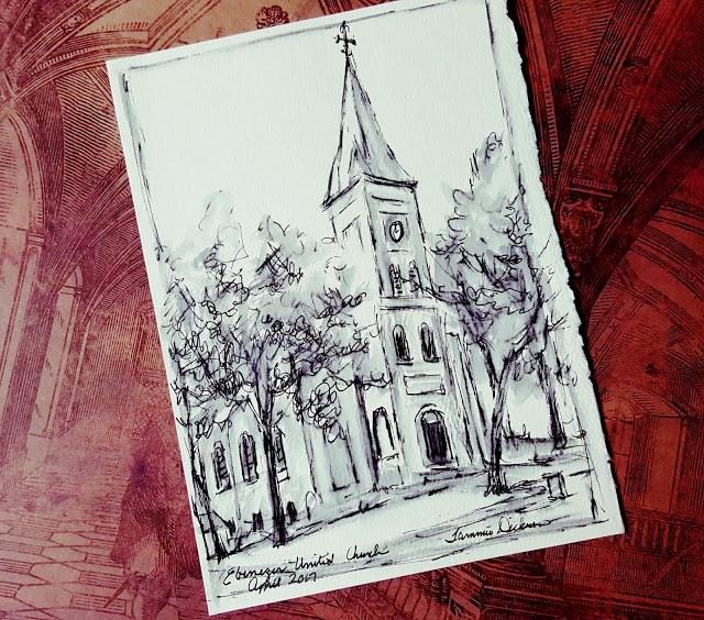 """Ebenezer Church Inked"" original fine art by Tammie Dickerson"