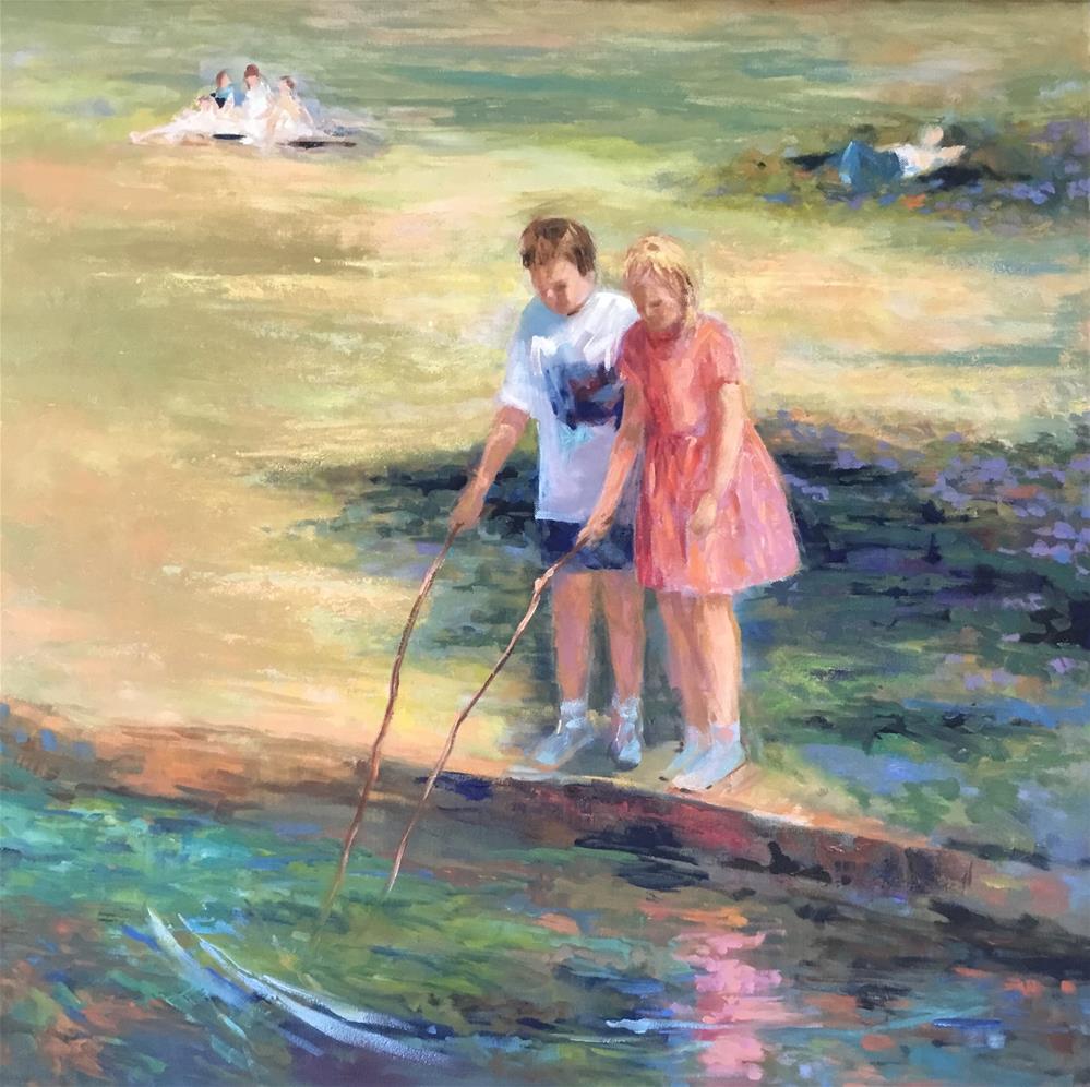 """Children at Duke Gardens"" original fine art by Charlotte Fitzgerald"