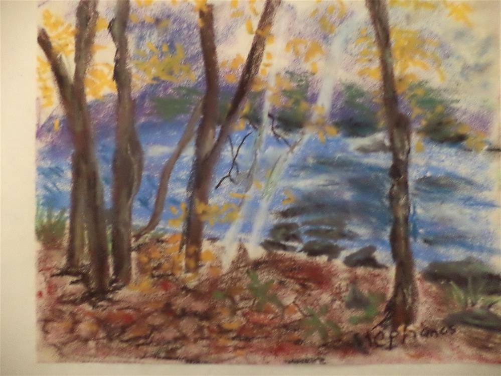 """""""Fall landscape and brook """" original fine art by tara stephanos"""
