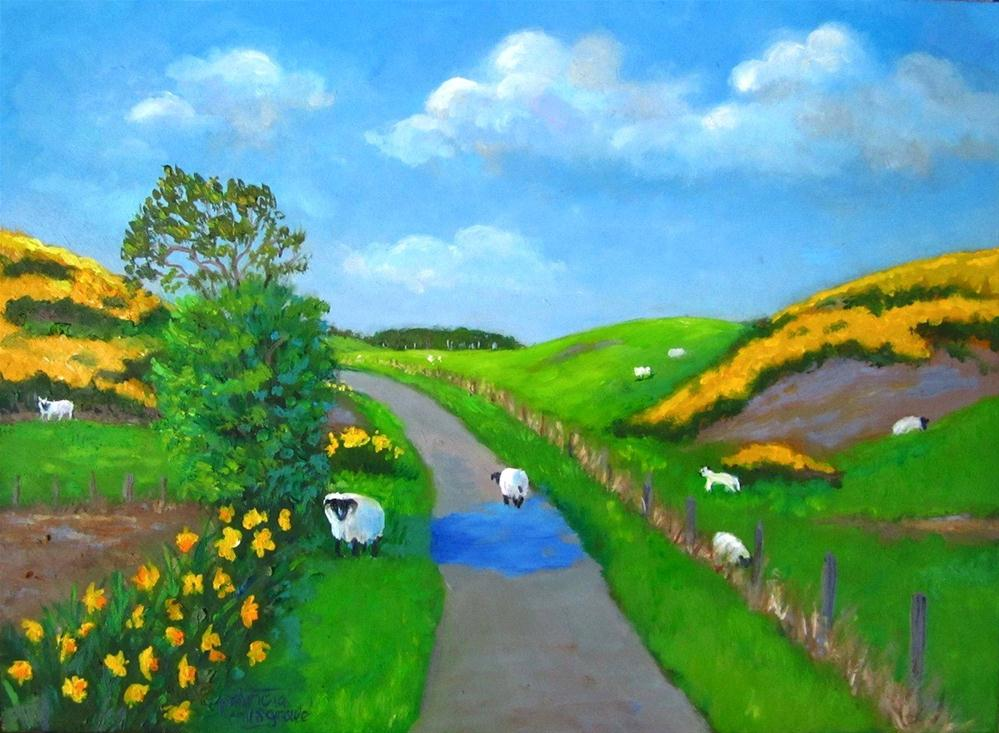 """""""Sheep in the Road"""" original fine art by Patricia Musgrave"""