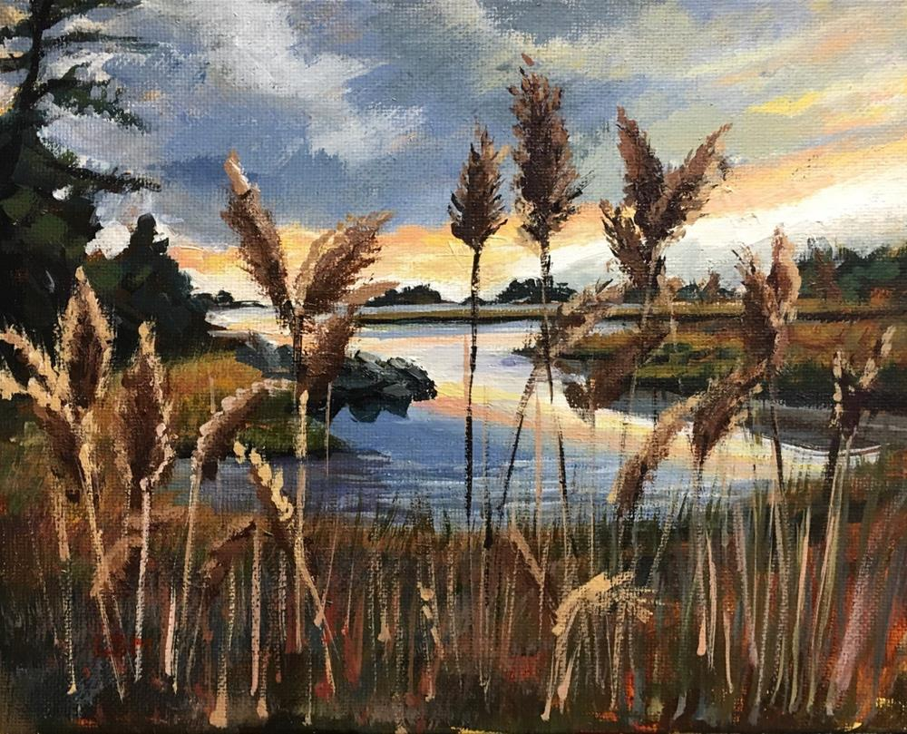 """Cattails at the Creek"" original fine art by Linda Marino"