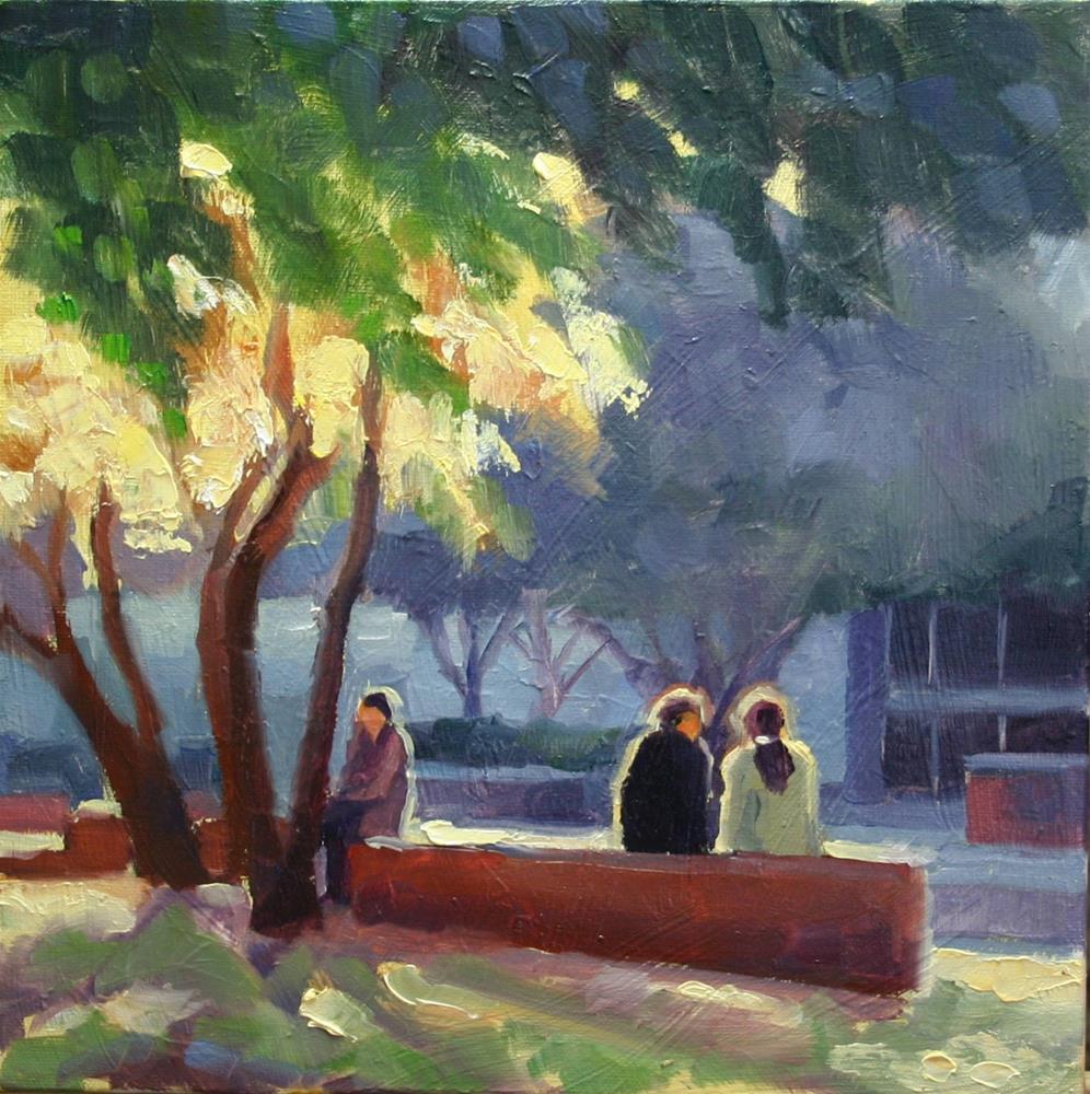 """A Quiet Moment, Berczy Park, Toronto"" original fine art by Catherine Jeffrey"
