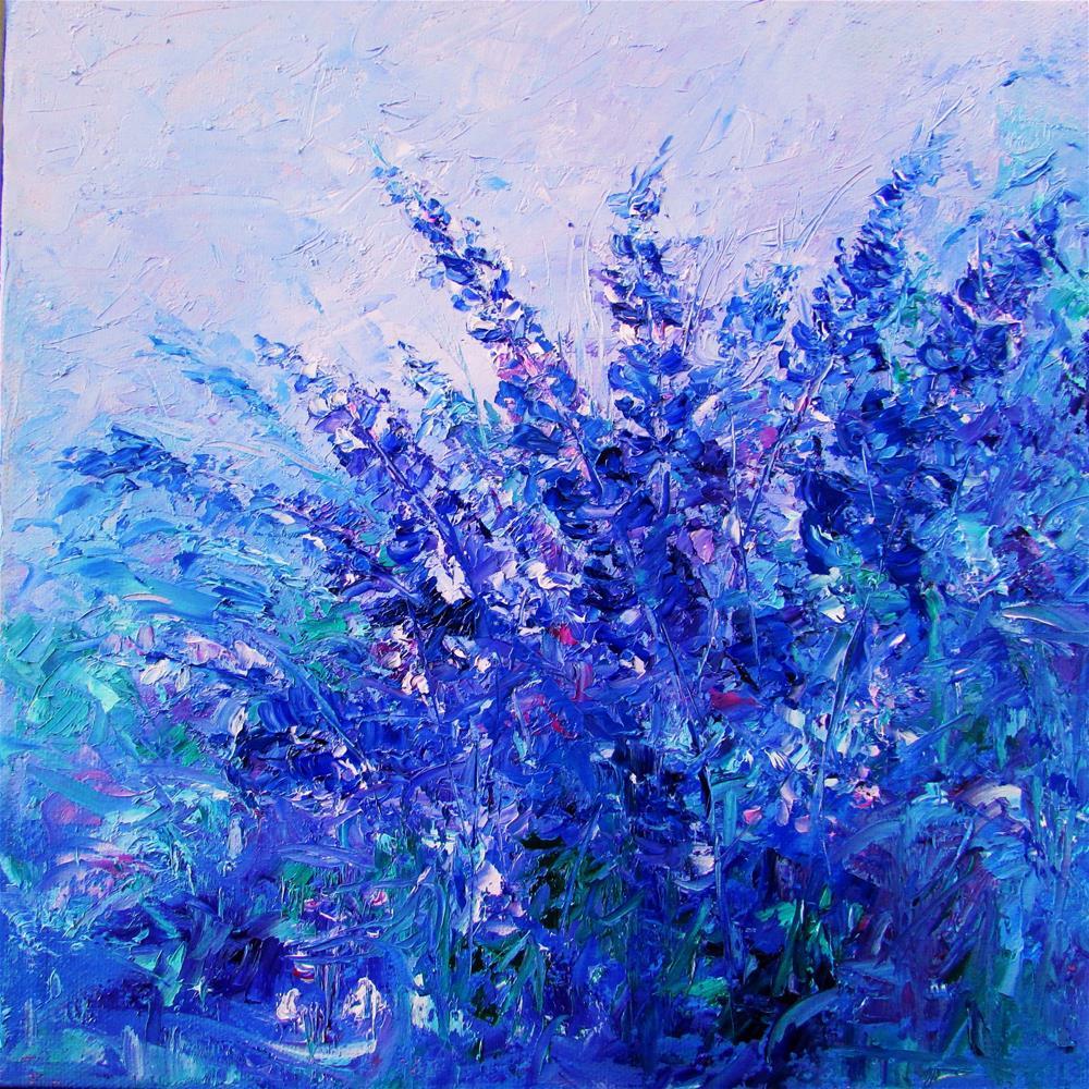 """""""12 x 12 inch oil Dancing in the Clouds"""" original fine art by Linda Yurgensen"""