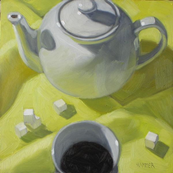 """Black, no sugar 6x6 oil"" original fine art by Claudia Hammer"