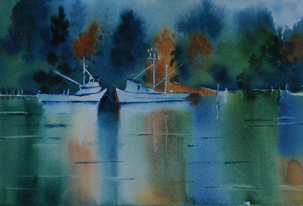 """""""Fishing Boats on Mats Mats Bay"""" original fine art by Mary Anderson"""