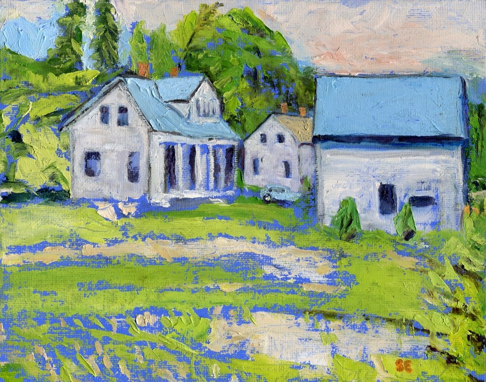 """Blue Rooftops of Brooklyn, Maine"" original fine art by Stanley Epperson"