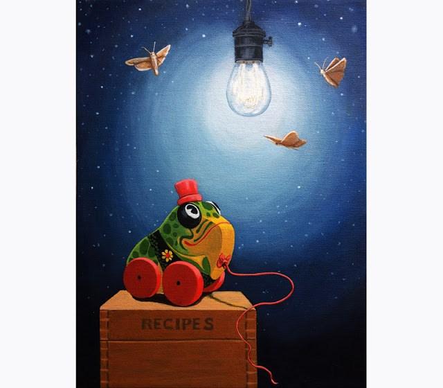 """LIGHT SNACKS original whimsical still life vintage toy painting"" original fine art by Linda Apple"