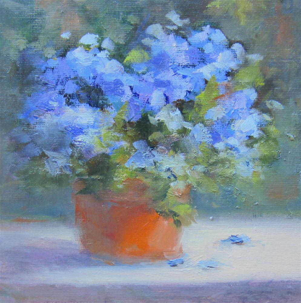"""""""Hydrangea Blue"""" original fine art by Pat Fiorello"""