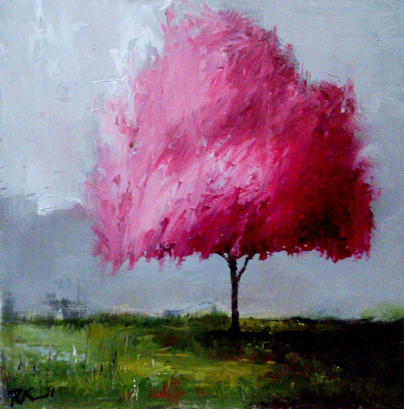 """""""A Cherry Tree in the Business Park"""" original fine art by Bob Kimball"""