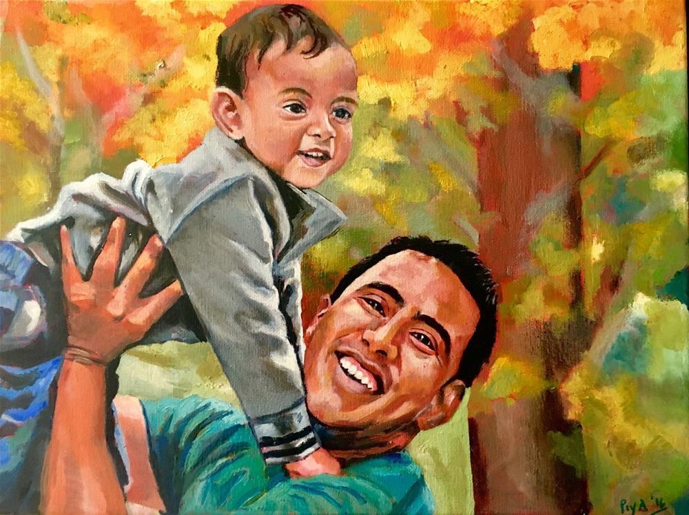 """Nevaan and Daddy"" original fine art by Piya Samant"