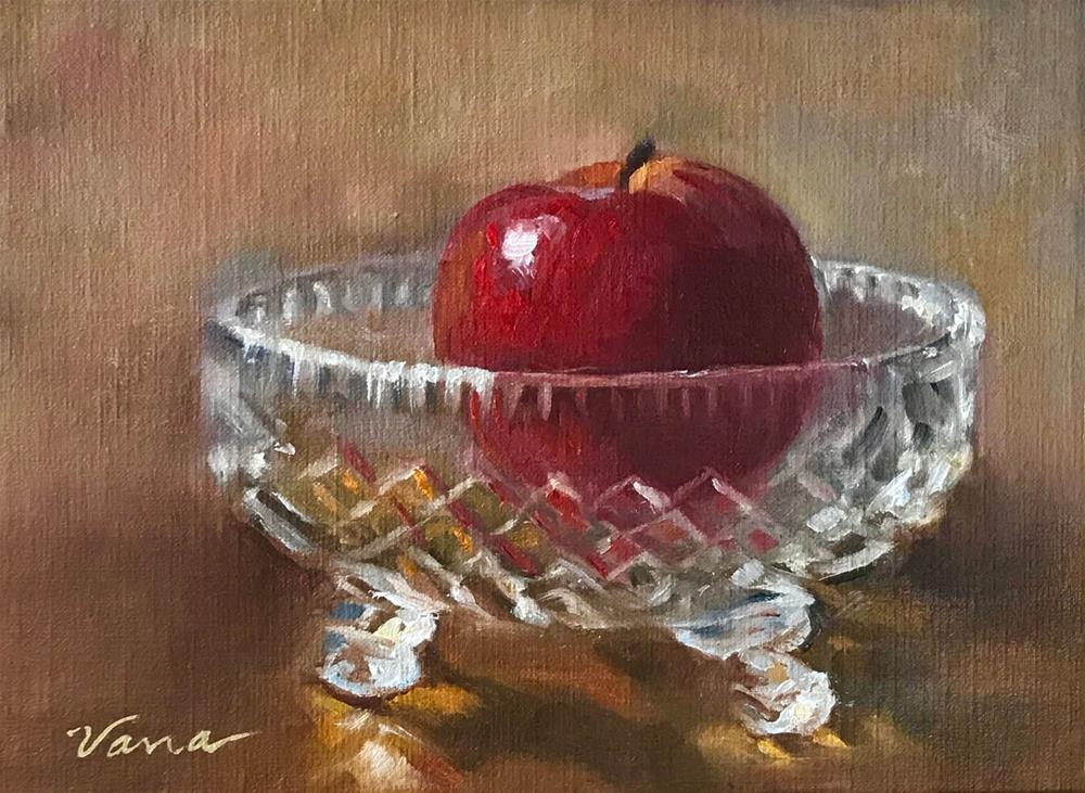 """Red Apple in Cut Glass"" original fine art by Vana Meyers"