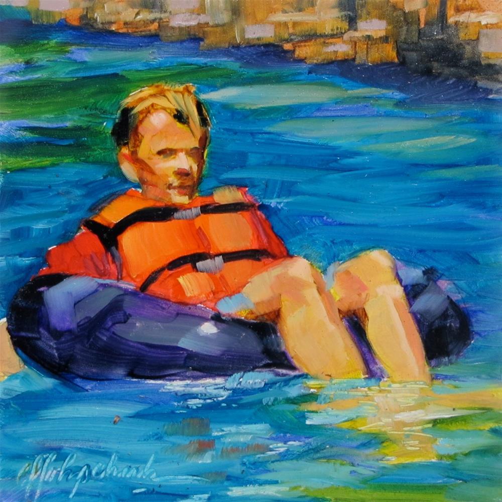 """River Tubing"" original fine art by Christine Holzschuh"
