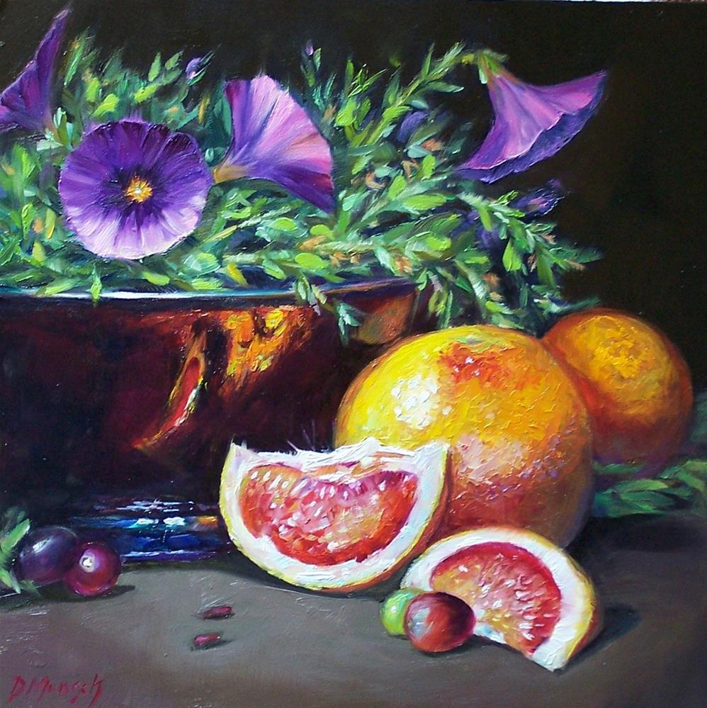 """""""Grapefruit Petunias"""" original fine art by Donna Munsch"""