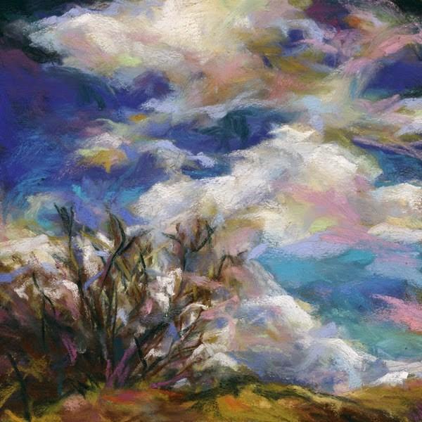 """BLUE + SHRUB - 6 x 6 landscape pastel by Susan Roden"" original fine art by Susan Roden"