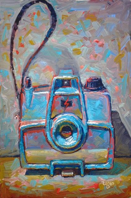 """Imperial Mark VII Camera in Blue"" original fine art by Raymond Logan"