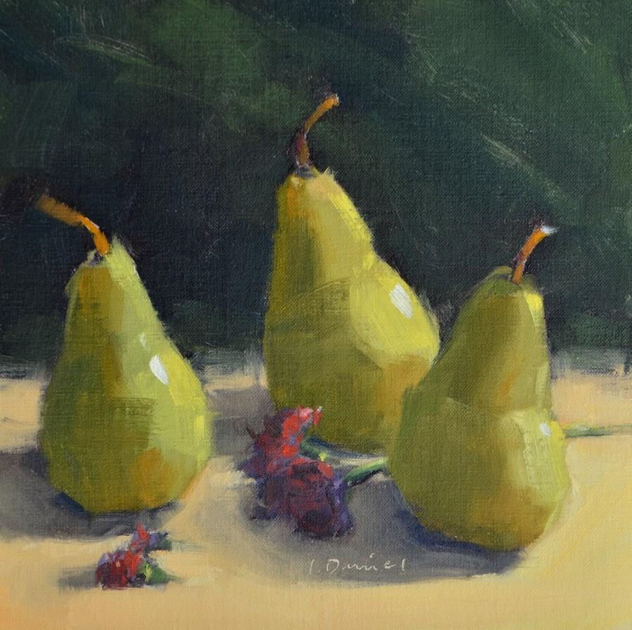 """Three Pears Standing - Thirty of 30 in 30!"" original fine art by Laurel Daniel"