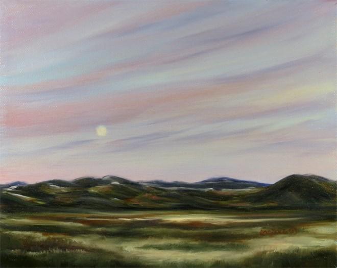 """Morning Moon over the Elk Horns"" original fine art by Carol Zirkle"