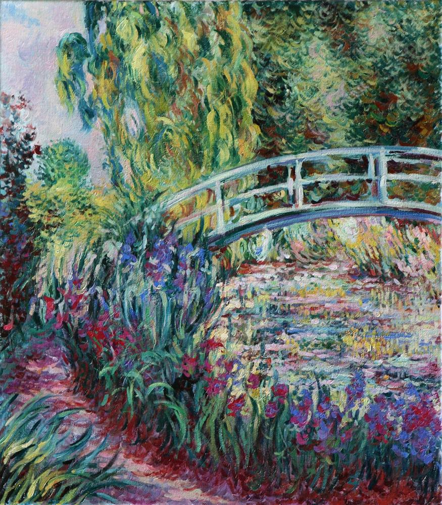 """""""Copy of Impressionist Claude Monet's painting of the Japanese Bridge in his garden at Giverny, France."""" original fine art by Larisa Nikonova"""