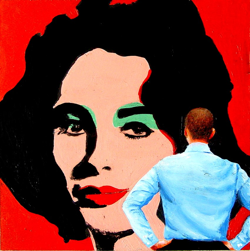 """Liz- Painting Of Man Enjoying Painting Of Elizabeth Taylor By Andy Warhol"" original fine art by Gerard Boersma"