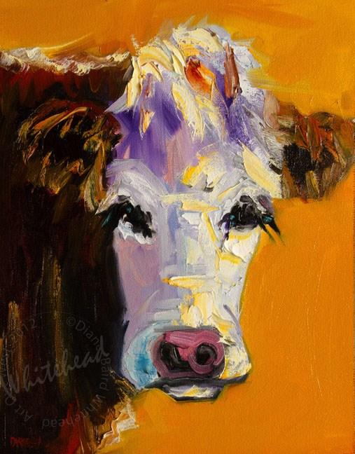 """""""ARTOUTWEST COW ART OIL PAINTING DIANE WHITEHEAD FINE ART"""" original fine art by Diane Whitehead"""