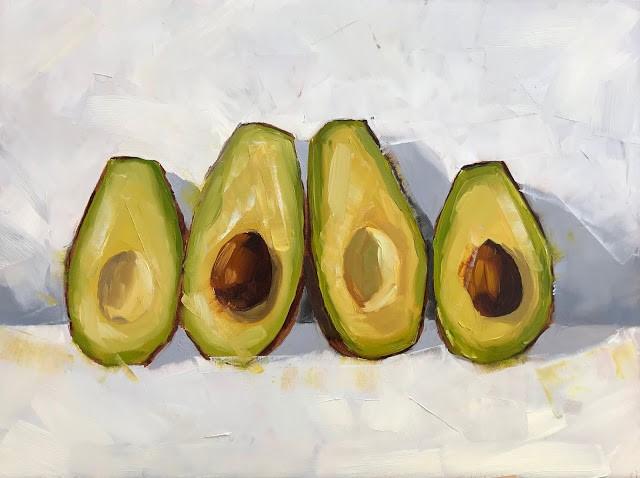 """Avocado Lineup - 9x12"" original fine art by Sharon Schock"