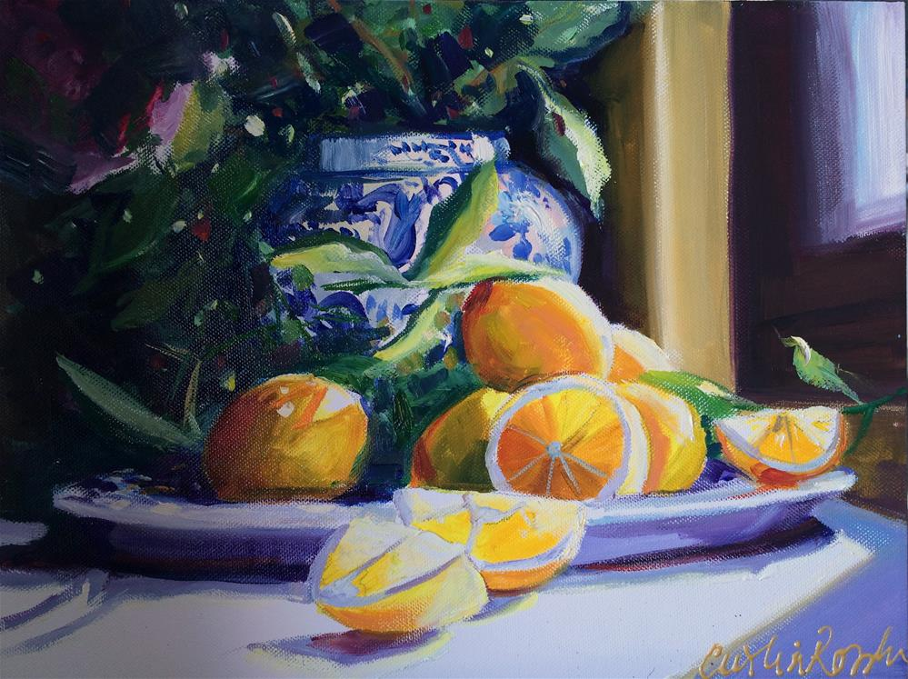 """LEMONS IN BLUE PORCELAIN"" original fine art by Cecilia Rosslee"