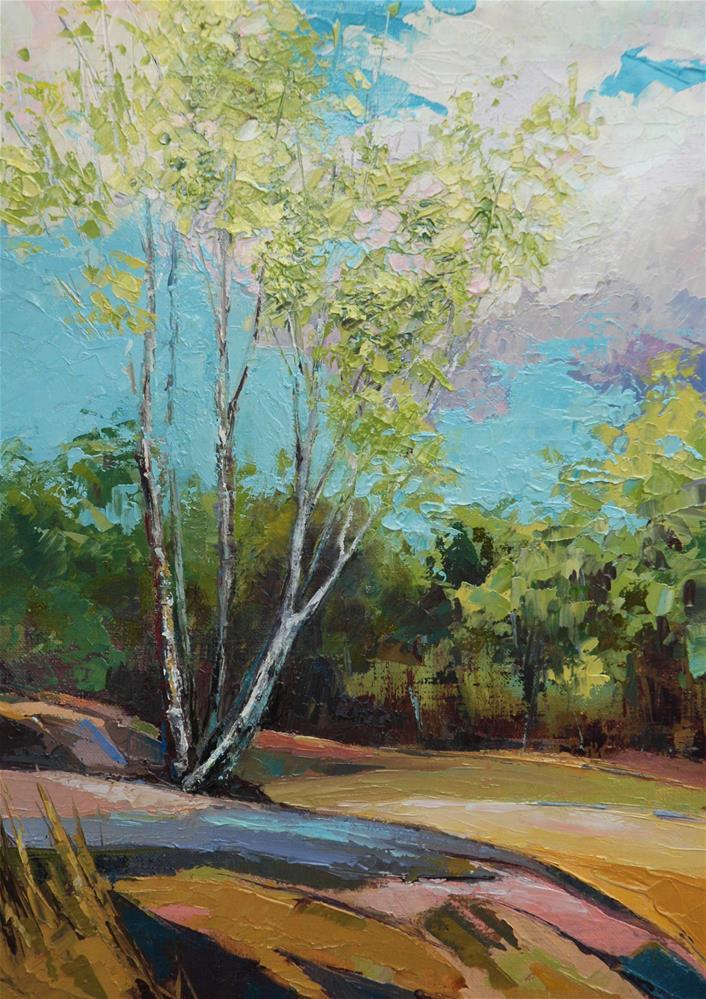 """Birch at Avon's rocks"" original fine art by Olga Touboltseva-Lefort"