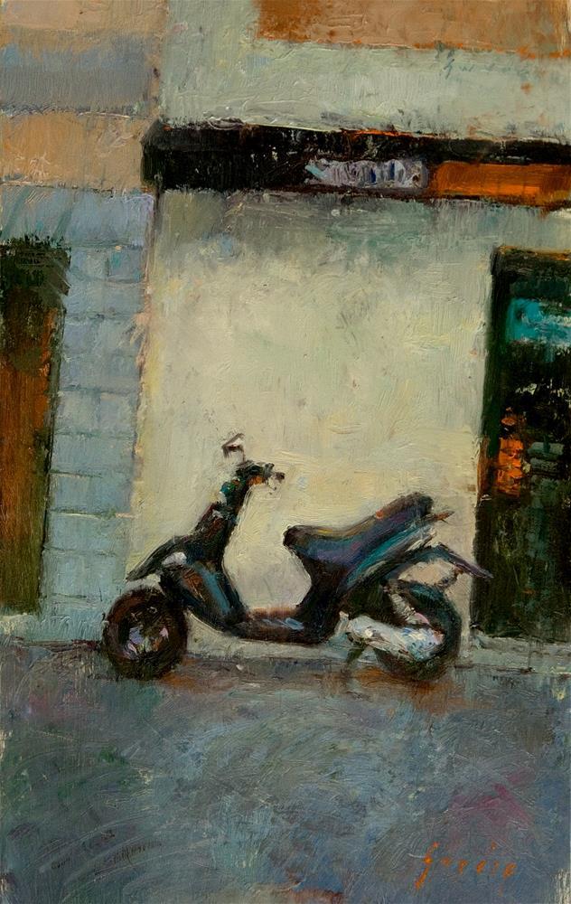 """""""Mobylette in Avignon"""" original fine art by Julie Snyder"""
