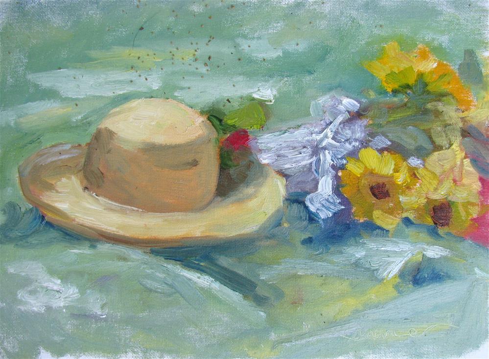 """Sun hat, Sunflowers"" original fine art by Susan Elizabeth Jones"