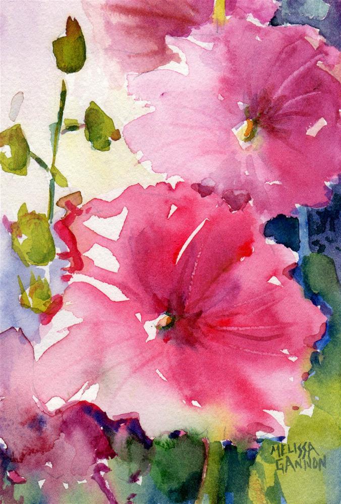 """""""Hollyhocks in Pink"""" original fine art by Melissa Gannon"""