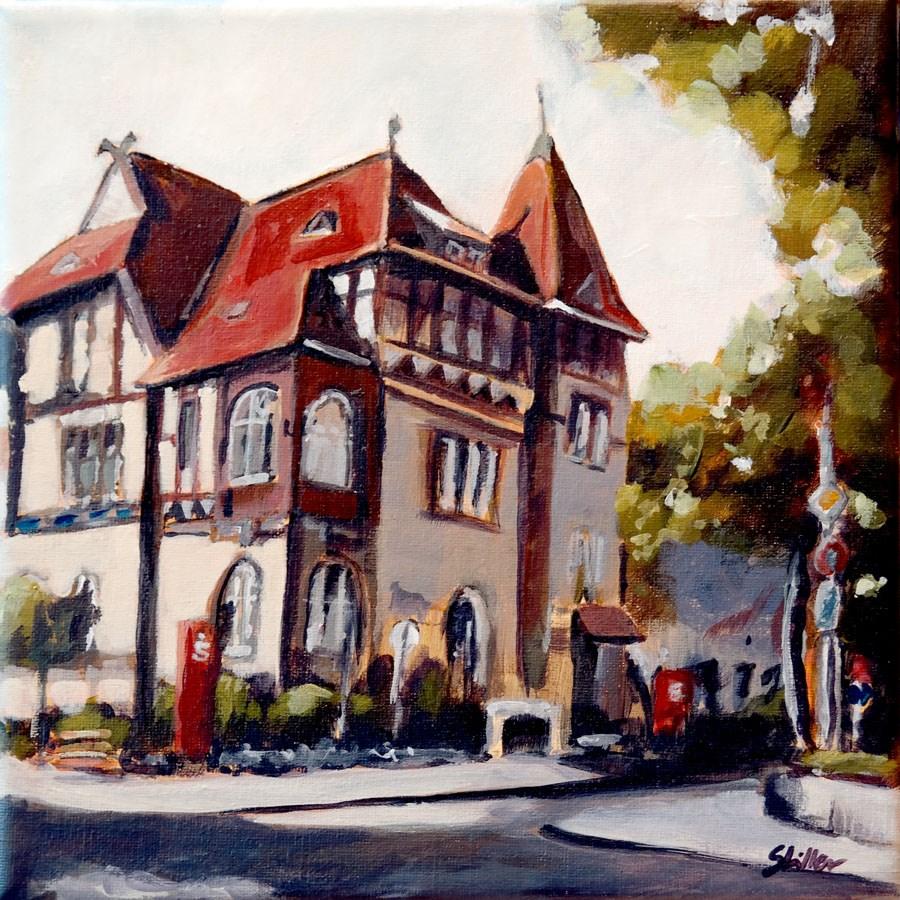 """1448 Savings Bank in Great Burgwedel"" original fine art by Dietmar Stiller"