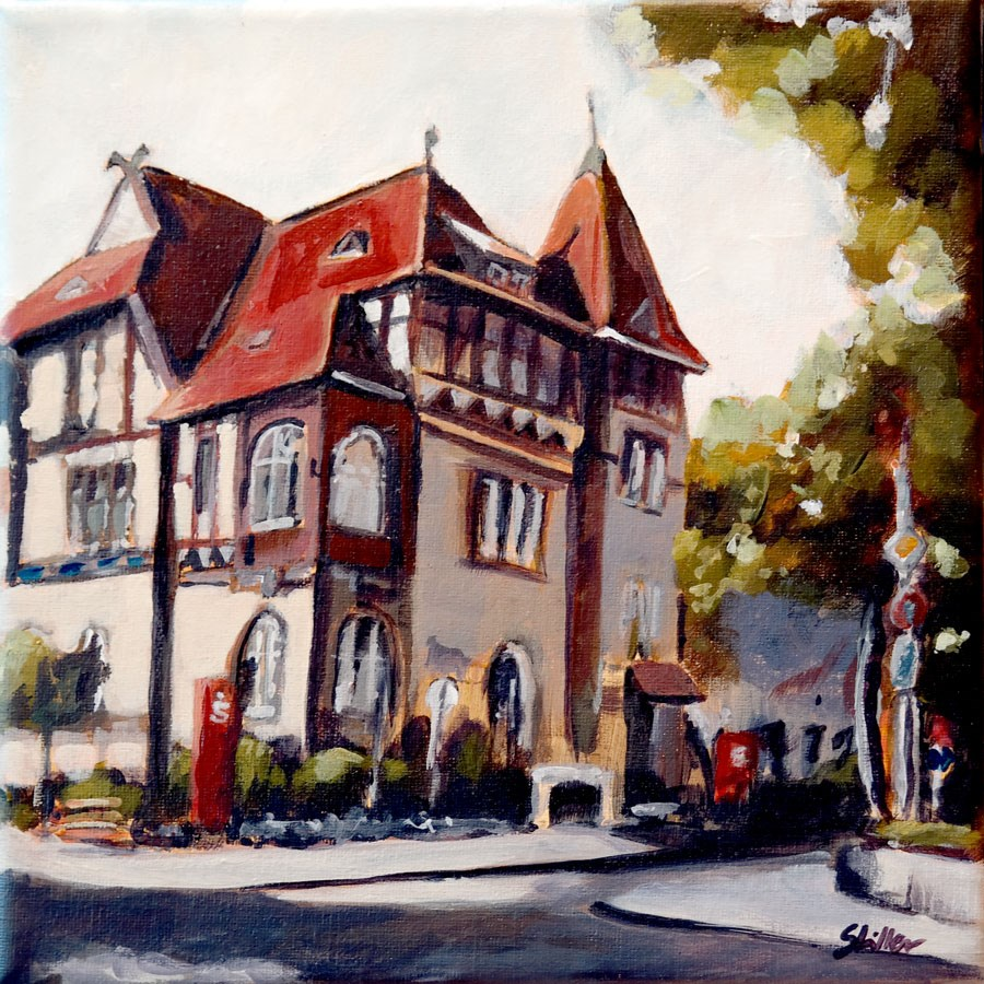 """1448 Savings Bank in Great Burgwedel"" original fine art by Dietmar Stiller"