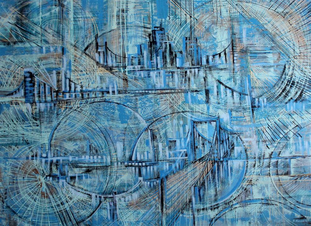 """Bridge Through Downtown"" original fine art by Khrystyna Kozyuk"