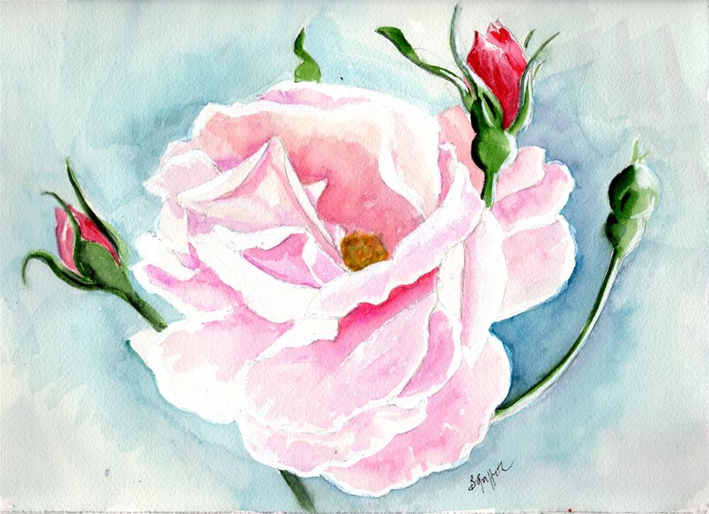 """Pink rose 3"" original fine art by Bunny Griffeth"
