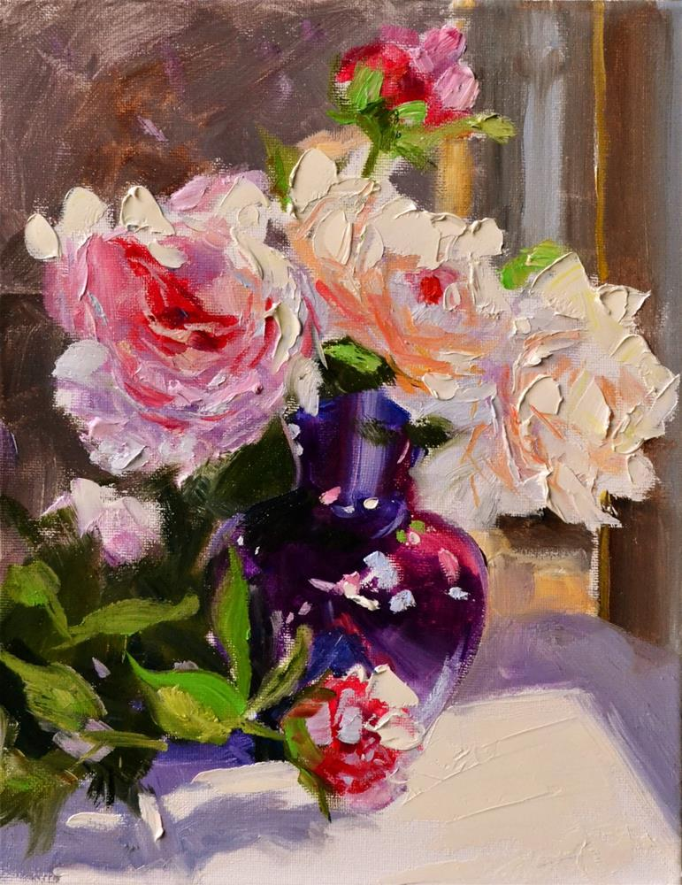 """""""PEONIES IN PURPLE VASE"""" original fine art by Cecilia Rosslee"""