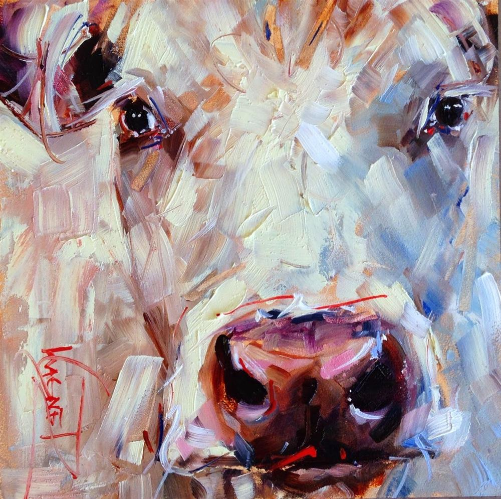 """""""ORIGINAL CONTEMPORARY WHITE COW PAINTING in OILS by OLGA WAGNER"""" original fine art by Olga Wagner"""